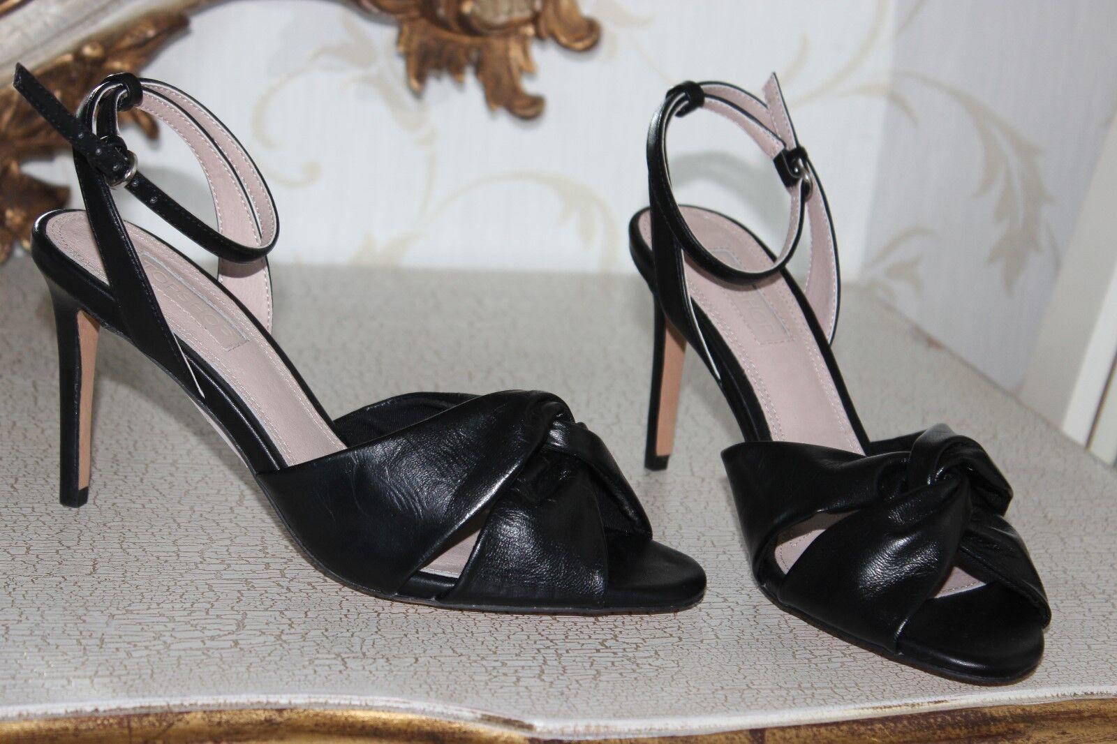 Topshop Negro Imitación Cuero Zapatos Sandalias de verano señoras tacones y Correa en el tobillo