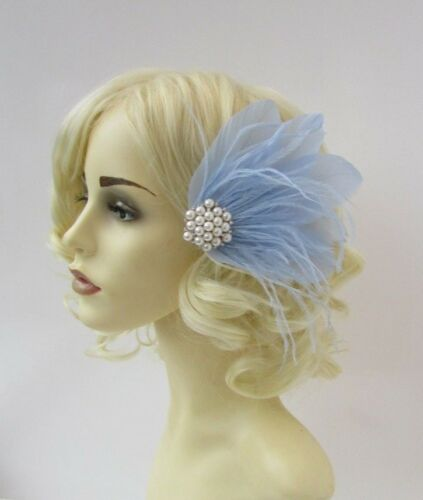Periwinkle Light Blue Ivory Pearl Feather Fascinator Hair Clip 1920s Bridal 6492