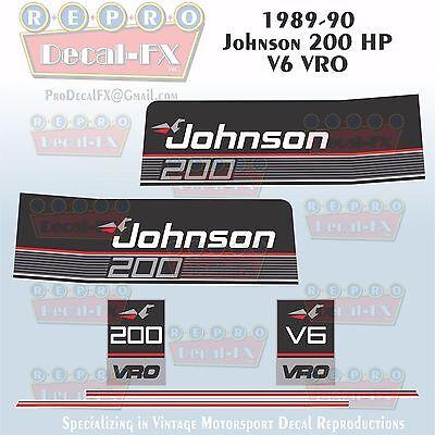 1989-90 Johnson 150 HP V6 Sea-Horse Outboard Reproduction 6Pc Marine Vinyl Decal