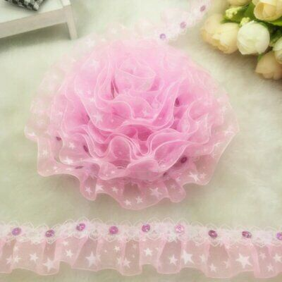 "Pale Pink Satin Flowers Embellishments Ribbon Roses 65mm//2.5/"" Applique Rose"