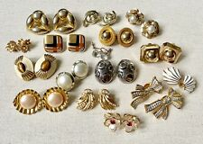 Vintage Estate Lot of 16 Pairs Earrings Gold Silver Crystal Clip On Swarovski