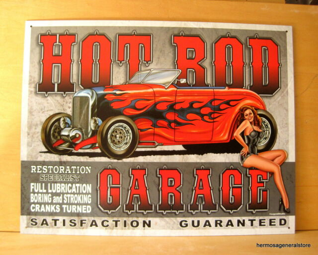 "Hot Rod Garage Tin Metal Sign,16"" X 12.5"" Made in USA, High Quality, #1626"