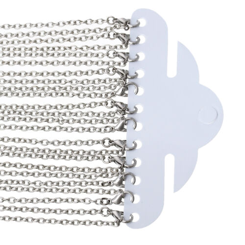 12pc 24 inch antique silver finish oval Link  ready to wear necklaces-9753S
