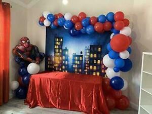 100 Globos Para Fiesta Cumpleaños De Spiderman Azul Rojo Negro Decoraciones Niño Ebay