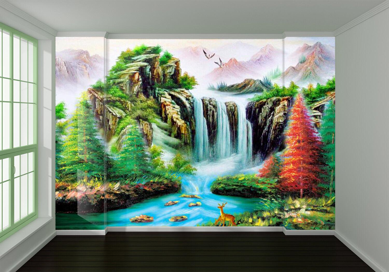 3D Wasserfall Wälder Wälder Wälder Malerei 803 Tapete Wandgemälde Tapeten Bild Familie DE Kyra | Neue Produkte im Jahr 2019  |  1b2941