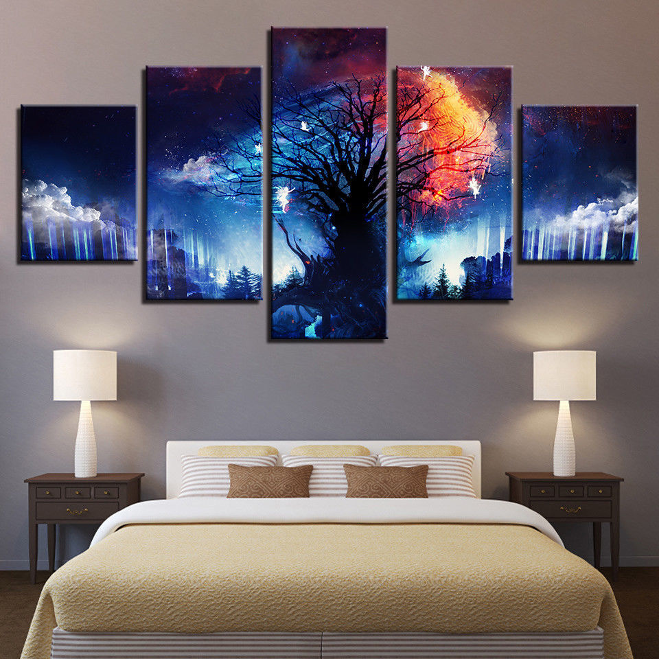 Tree of Life Fantasy Farbe Framed Canvas Five Piece Wall Art 5 Panel Home Decor