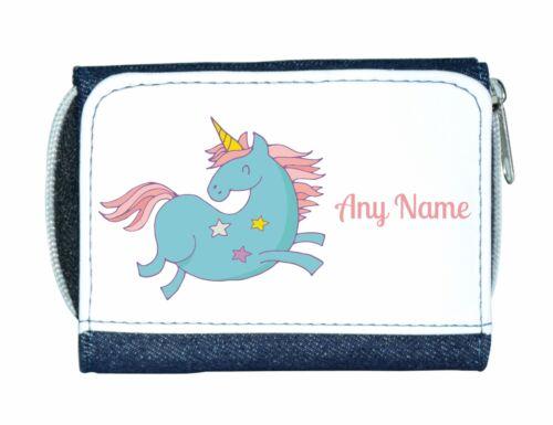 Personalised Girls//Ladies Denim Purse With Cute//Funky Blue Unicorn