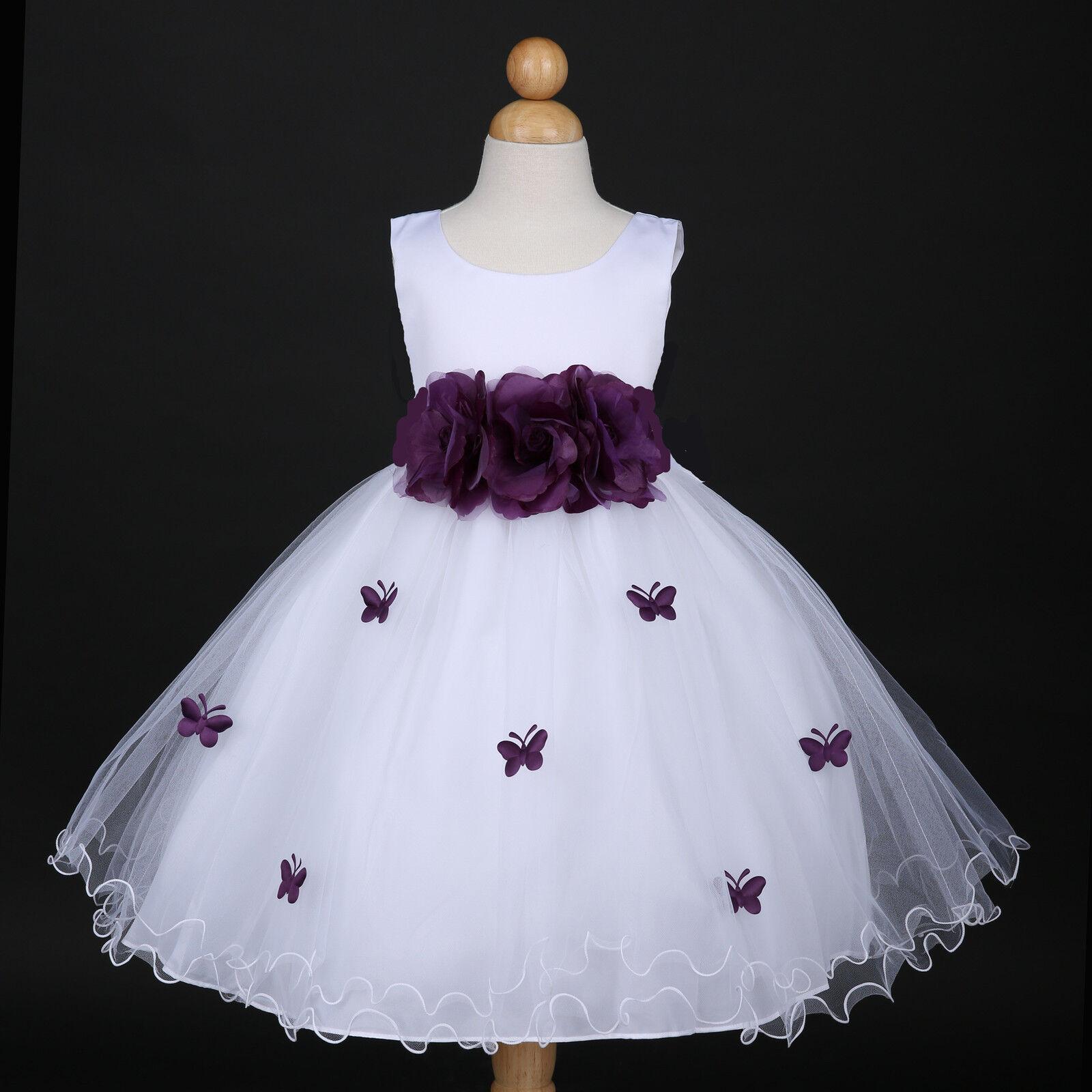 White/Plum Purple Wedding Flower Girl Dress Pageant Gown 6M 12M 18M 2 4 6 8 10
