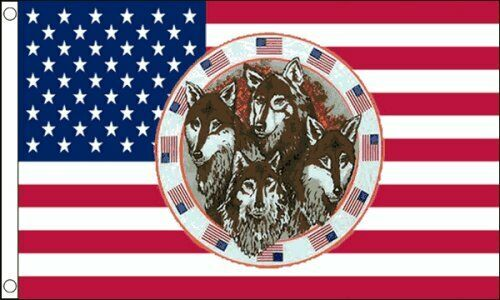 USA With Four Wolves 5ft x 3ft 150cm x 90cm Flag Banner