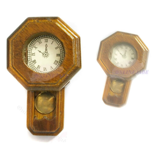 Doll House Miniature Mini Old Wood Golden Brown Fashioned Rail Wall Clock
