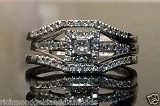 White Gold Princess Cut Halo Diamond Bridal Wedding 2 Band Each Side Ring Set
