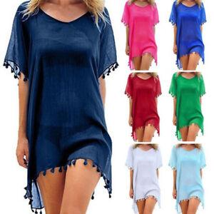 Women-Beachwear-Swimwear-Bikini-Beach-Wear-Cover-Up-Tassel-Ladies-Summer-Dress