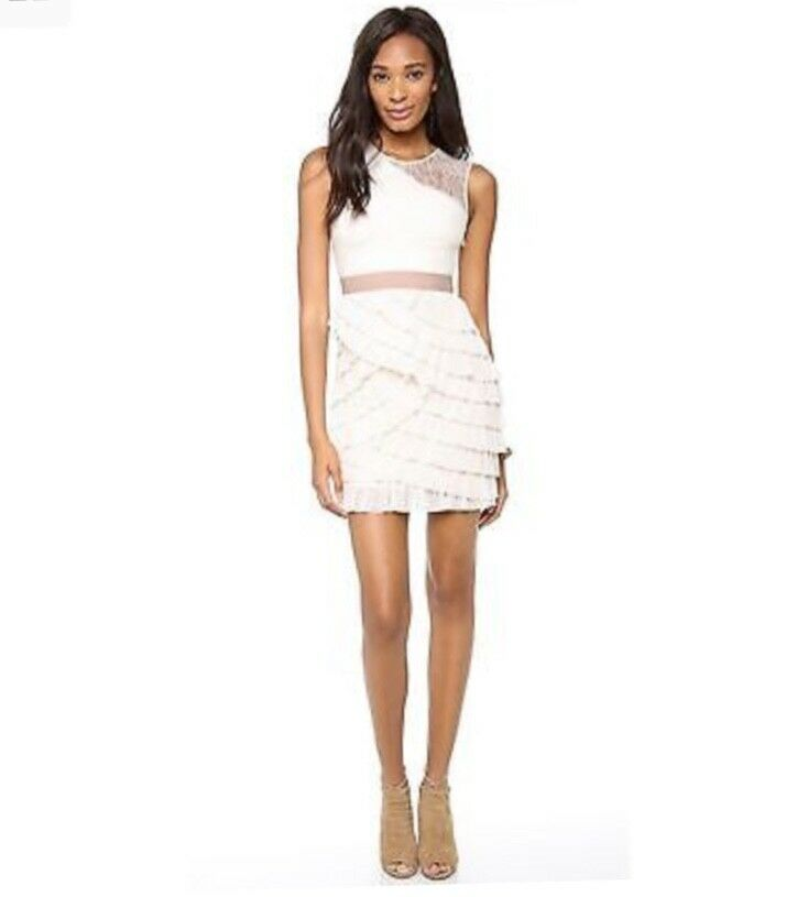NEW BCBG MAX AZRIA JAYA PLEATED SLEEVELESS Ruffle Ruffle Ruffle DRESS  280.00 size 2 2c55f9