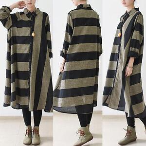332f9ffe1ea UK 8-24 ZANZEA Women Striped Linen Long Sleeve Tunic Baggy Shirt ...