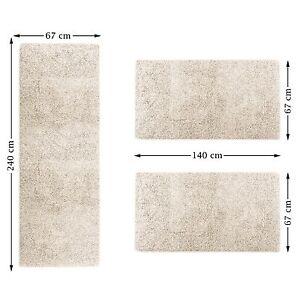 feine bettumrandung sphinx 3 teilig shaggy teppich l ufer langflor farbe creme ebay. Black Bedroom Furniture Sets. Home Design Ideas