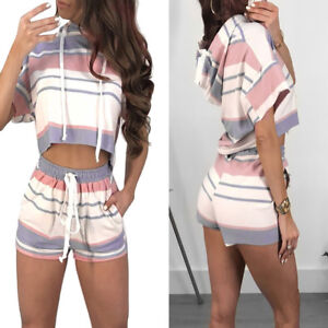 NEW-Women-Short-Sleeve-Striped-Crop-Top-Blouse-Cord-Short-Outfit-Set-Sports-Suit
