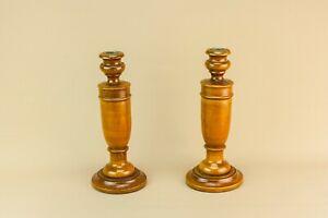 1930-Oak-Candlesticks-Arts-amp-Crafts-Candle-Holder-Turned-Wood-Vintage-English