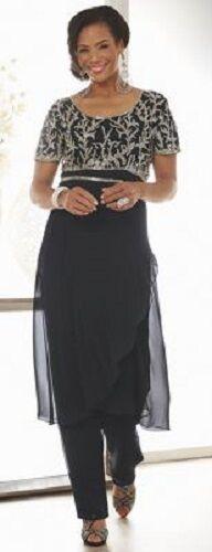 Ashro Sahara Black Silver Beaded Formal Dress Pant Suit Wedding Cruise 6 8 14