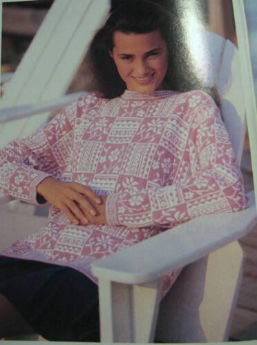 Sweater Geometrisk Sz l Cotton Jacquard Pink Laura White Ashley 1980s M Floral Wq0BSSTFw