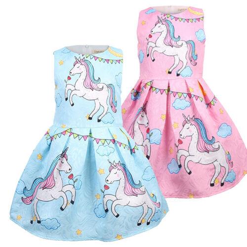 Toddler Baby Kids Girls Sleeveless Unicorn Skater Swing Dress Princess Clothes