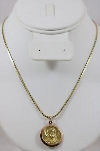 14k-Yellow-Gold-Jesus-Christ-Mary-Catholic-Pendant-17-034-Snail-Necklace-16-1g