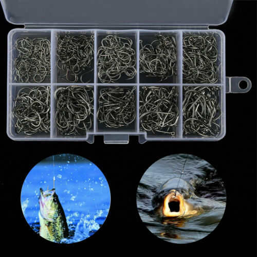 Details about  /500pcs Fish Hook 10 Sizes Fishing Black Silver Sharpened With Box Quality kit SL