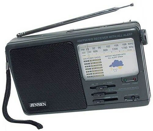 Weather Radio AM//FM Band All Alert 7 Channels Uses Batteries AC Adaptor Jensen