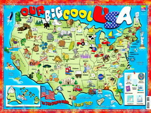 Details about BIG COOL USA Kids Educational Map Wall Print POSTER CA