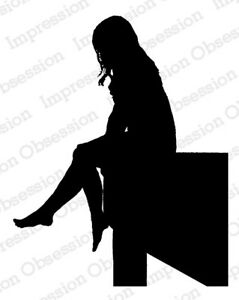 Silhouette Girl with Bird rubber stamp