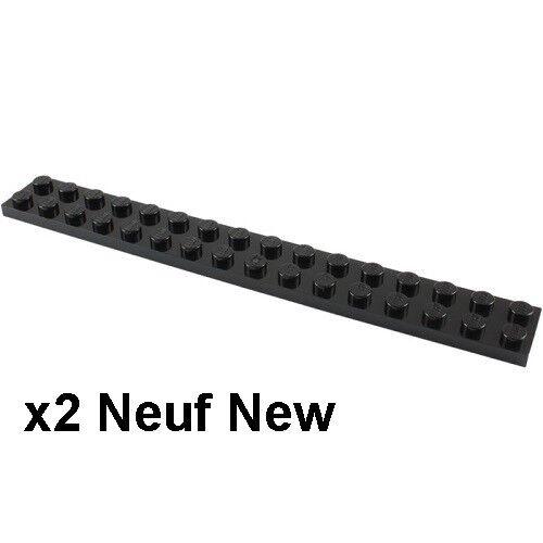 Lego 2 plaques noires 2x16 Neuves Black plates 2x16 NEW REF 4282