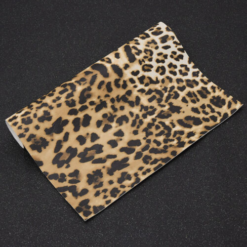 A4 Faux PU Leather Leopard Print Upholstery fabric Sheets DIY Garment Material