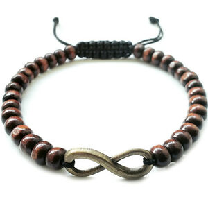 Image Is Loading Men 039 S Beaded Shamballa Bracelet Infinity Charm