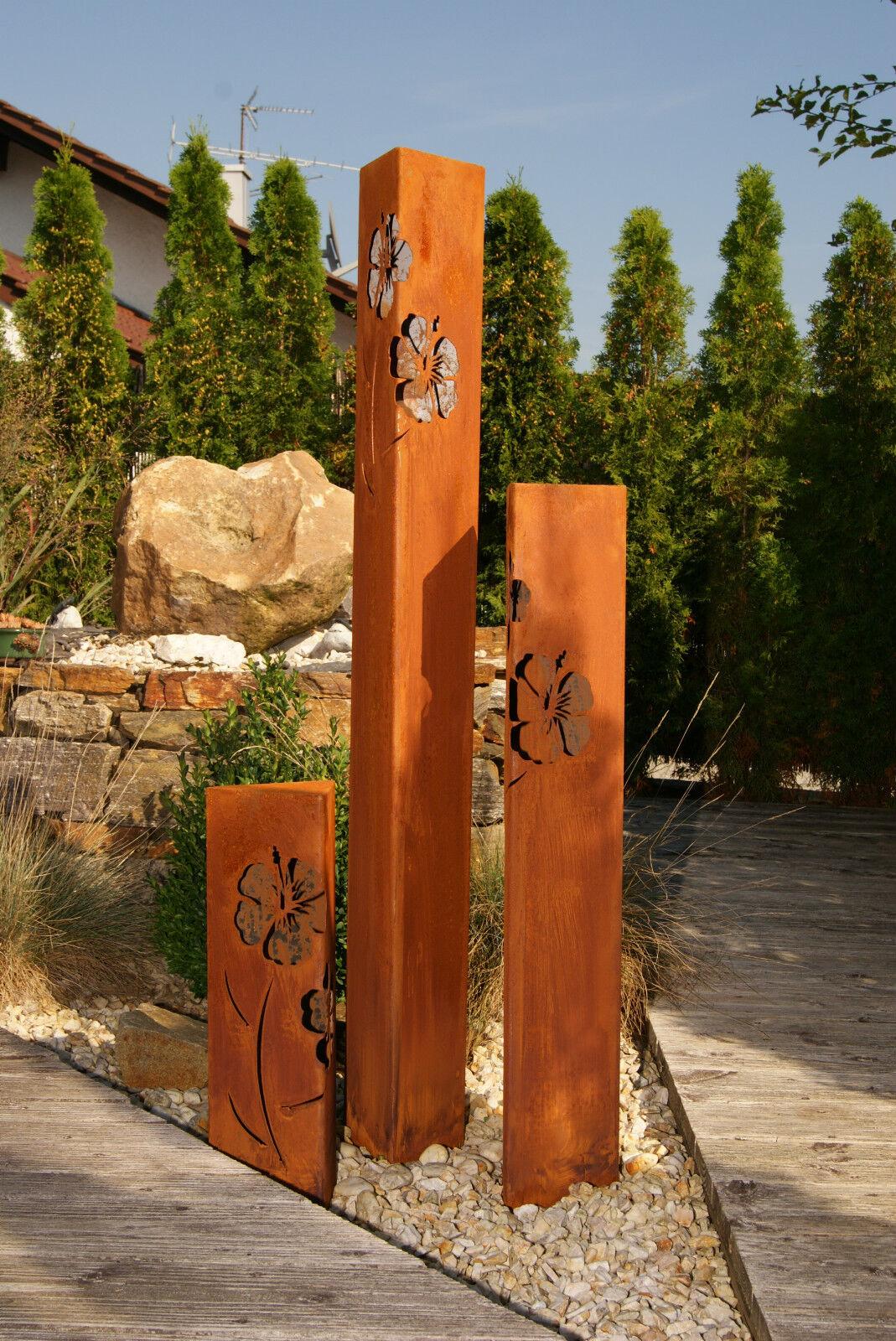 Säule Set Hibiskus Edelrost Rostsäule Rostsäulen JH JH JH Metalldesign Rost Säulen d1a186