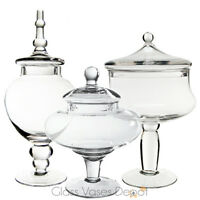 Candy Buffet Jars - Set of Three (3) - Glass Apothecary Jar Set (Great Value)