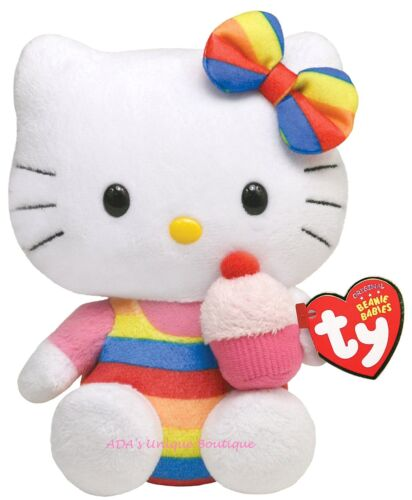 TY Beanie Babies Hello Kitty Rainbow Cupcake Stuffed Animal Toy Sanrio NWT