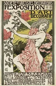 AZ36-Vintage-1894-French-Art-Nouveau-Exhibition-Advertisement-Poster-A1-A2-A3-A4