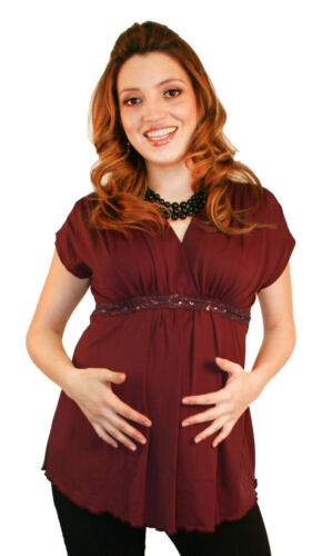 Wine Red Burgundy Short Sleeve Maternity Top Blouse Pregnancy Womens
