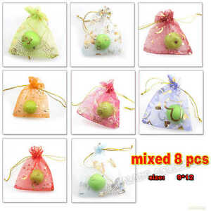 80x-Assorted-Themes-Organza-Wedding-Pouch-Jewelry-Candy-XMAS-Gift-Bags-9x12cm-LC