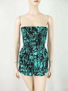 Aqua Strapless Shorts Romper Black Green XS $78 9797 BM14