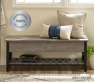 Attirant Details About Rustic Entryway Storage Bench Wood Shoe Rack Farmhouse Shelf  Country Wash Gray