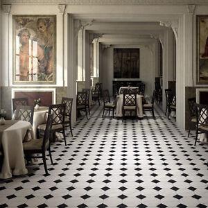 Black & white marble effect porcelain Octagon floor tiles Marazzi ...