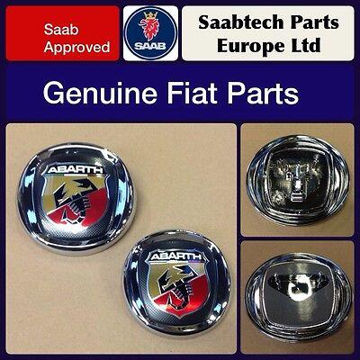 Abarth NEW Genuine alloy wheel logo center caps set 51811808 500 punto