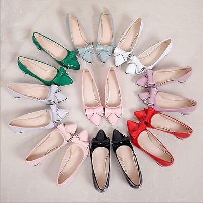 Cute Fashion Women's Patent Leather Ponit Toe Bow Block Chunky Low Heels Shoes