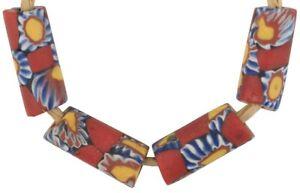 Rare-African-trade-beads-red-Millefiori-old-Venetian-glass-beads-Murano-mosaic