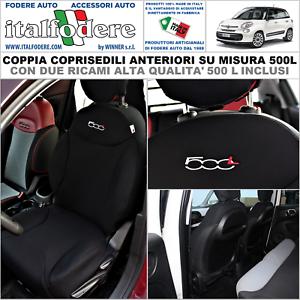 COPPIA COPRISEDILI Fiat 500L SuMISURA Fodera Fodere Foderine SOLO ANTERIORI Nero