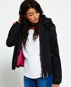 Image is loading New-Womens-Superdry-Hooded-Technical-Pop-Zip-Windcheater- 74fbbfbd7