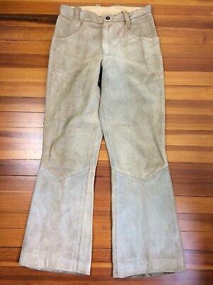 Onestà Vintage Ibex Of England Pelle Scamosciata Pantaloni Misura 29 Pollici Vita Aspetto Attraente