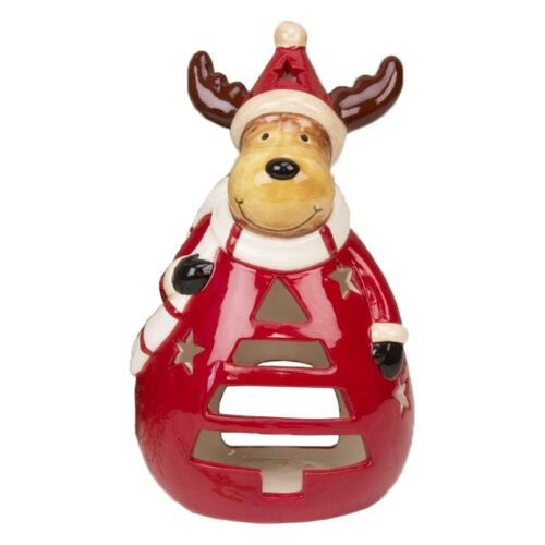 Ceramic Red Tea Light Candle Holder Reindeer Christmas Decoration