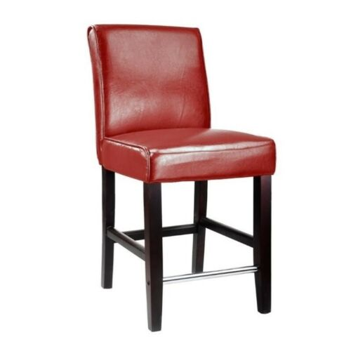 CorLiving Antonio 25 Bonded Leather Counter Stool in Red