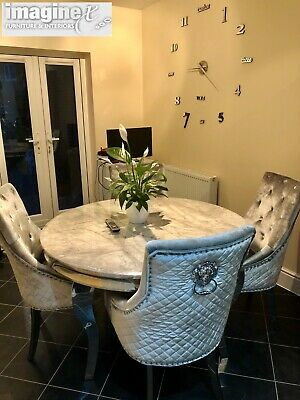 Louis Grey Marble 130cm Round Dining, Round Marble Dining Table And Chairs